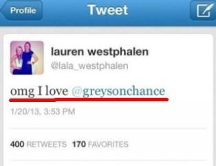 他以前有一个女友叫lauren westphalen.