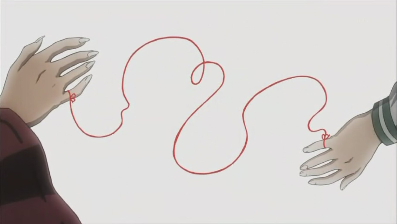 谁有犬夜叉完结篇片尾曲中犬夜叉和戈薇的手用红线牵着的大图!