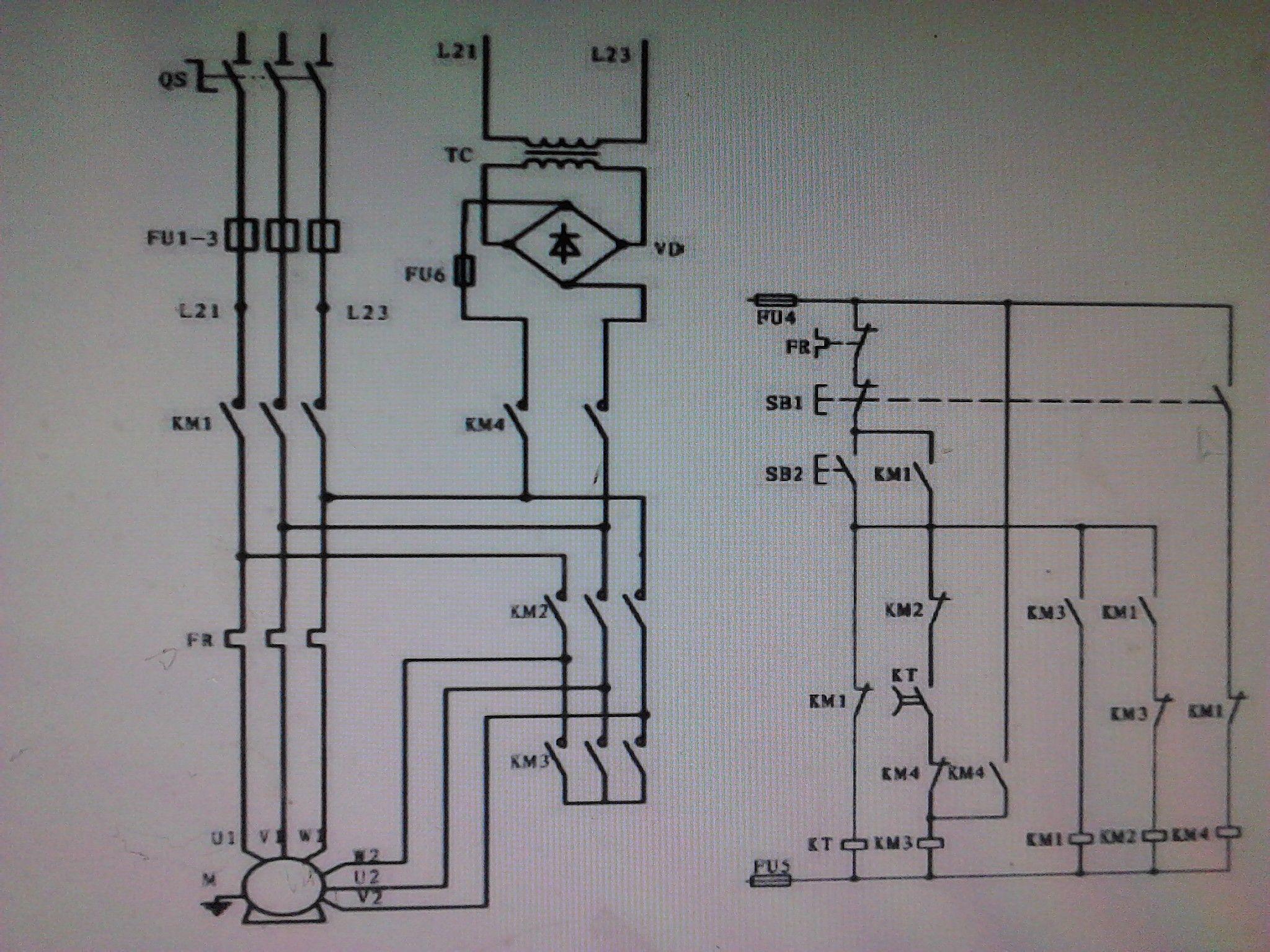 星三角降压启动,能耗制动控制线路的plc改造设计高清图片
