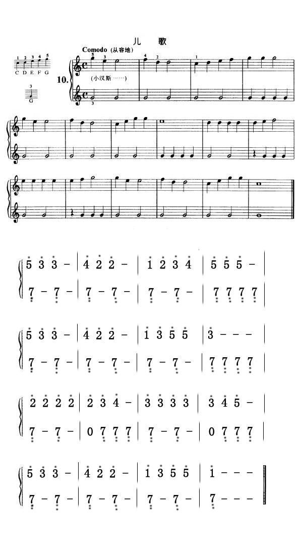 拜厄钢琴基本教程第21页的儿歌小汉斯的简谱图片