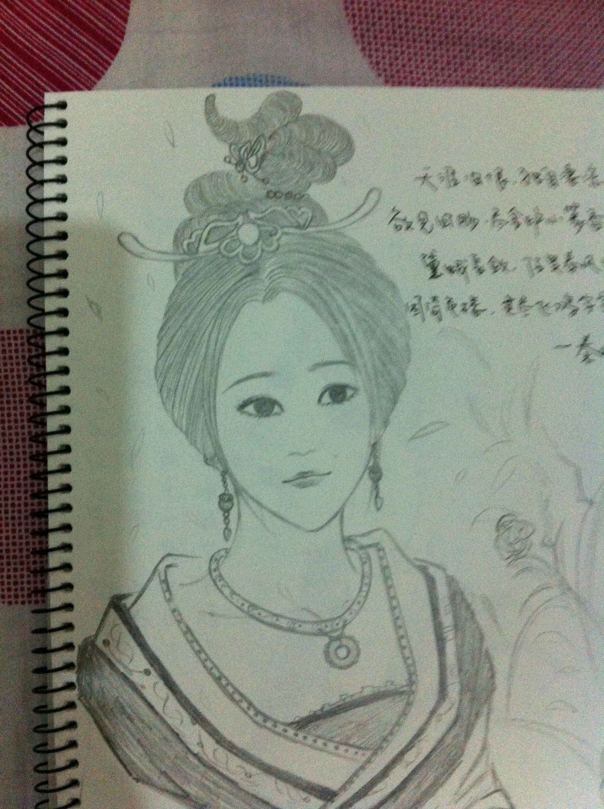 古代美女素描素描手绘古代美女铅笔画古代美女素描