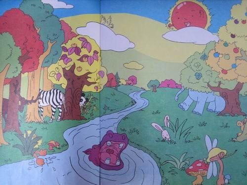 寻找森林里的一条道上,有很多小动物的家的那种图片,卡通的,高清图片
