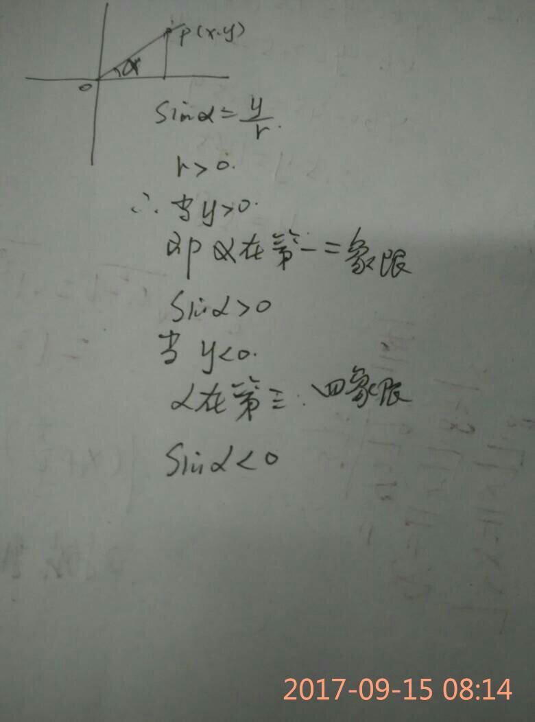 sinx在第几象限为正
