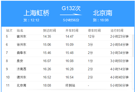 132到北京南站几点
