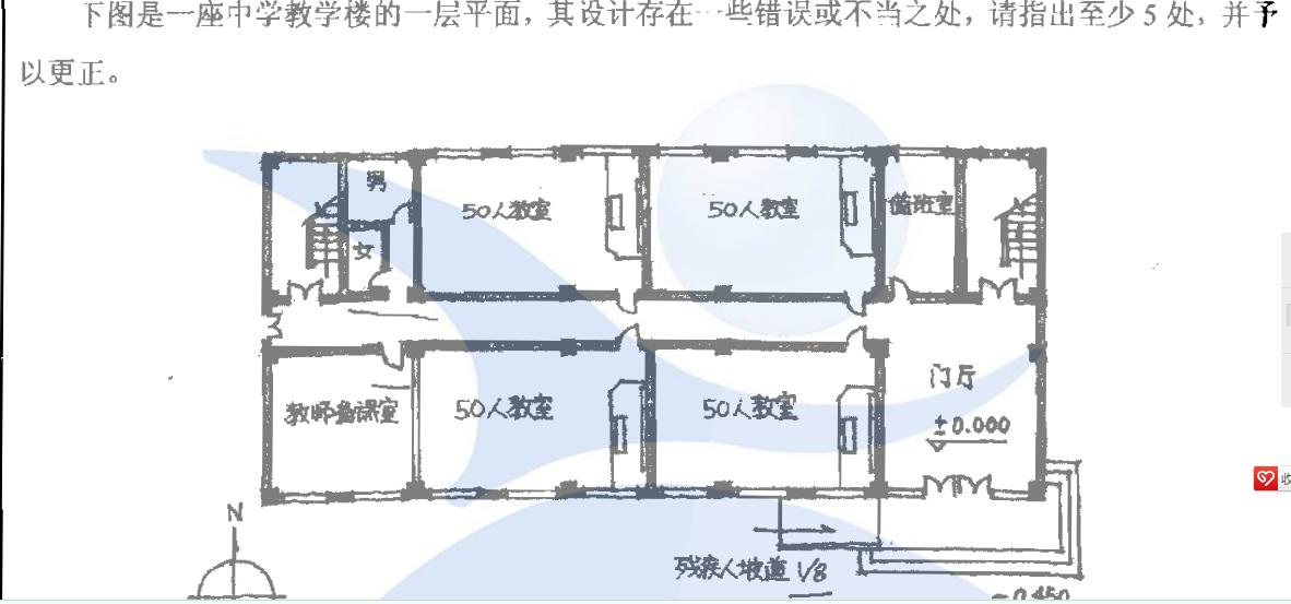 建筑设计问题:下图为一中学教学楼平面图,其设计有一些错误或不当之图片