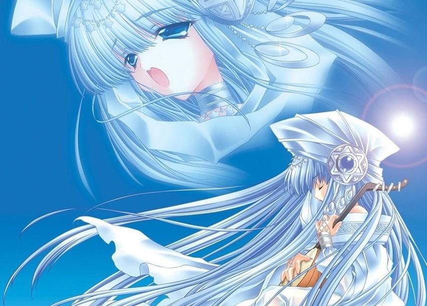 动漫中的长蓝发女生