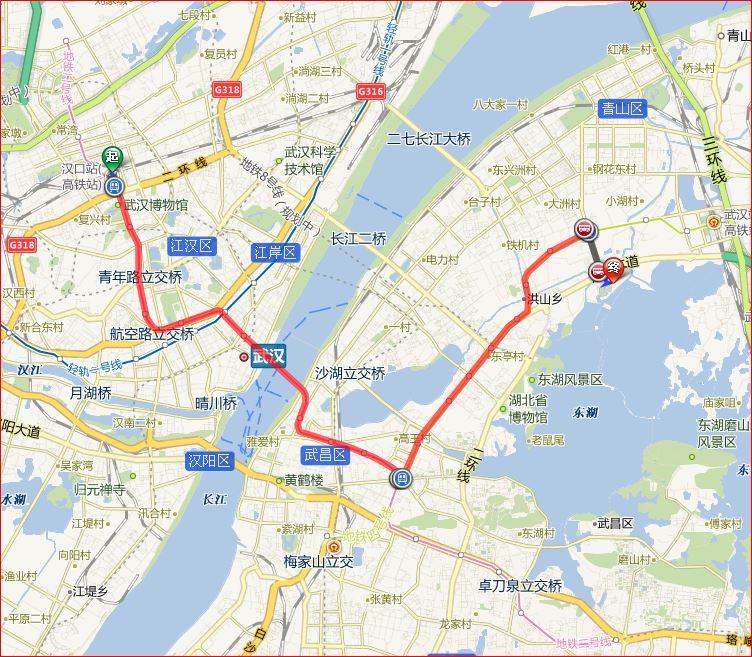 在武汉,从汉口火车站到欢乐谷,应该如何乘地铁?图片