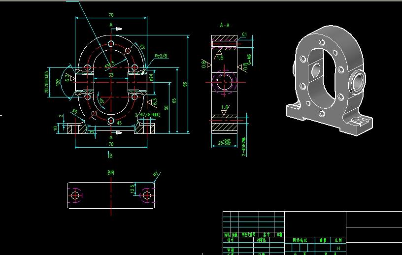 齿轮油泵cad装配图零件图图片