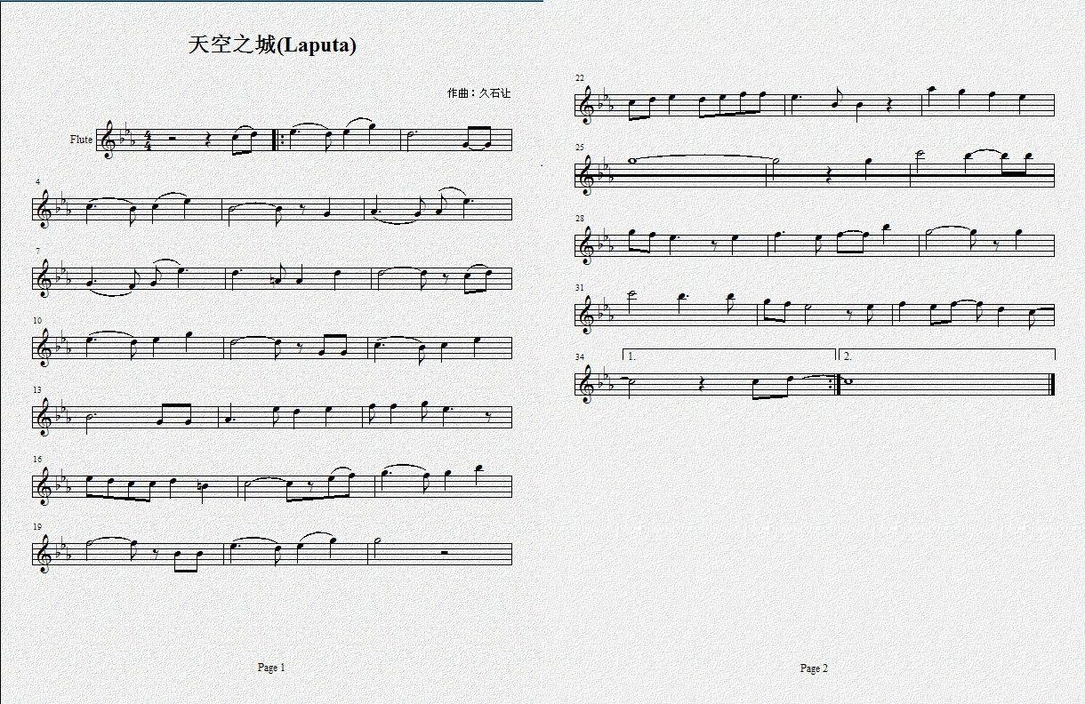 城钢琴简谱   求天空之城长笛曲谱完整版   谁有12孔陶笛天高清图片