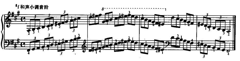 钢琴#f小调和声音阶指法三个八度图片