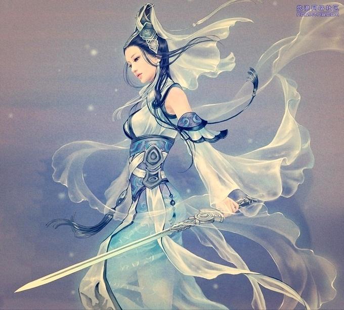 是一个古装女子拿着把剑