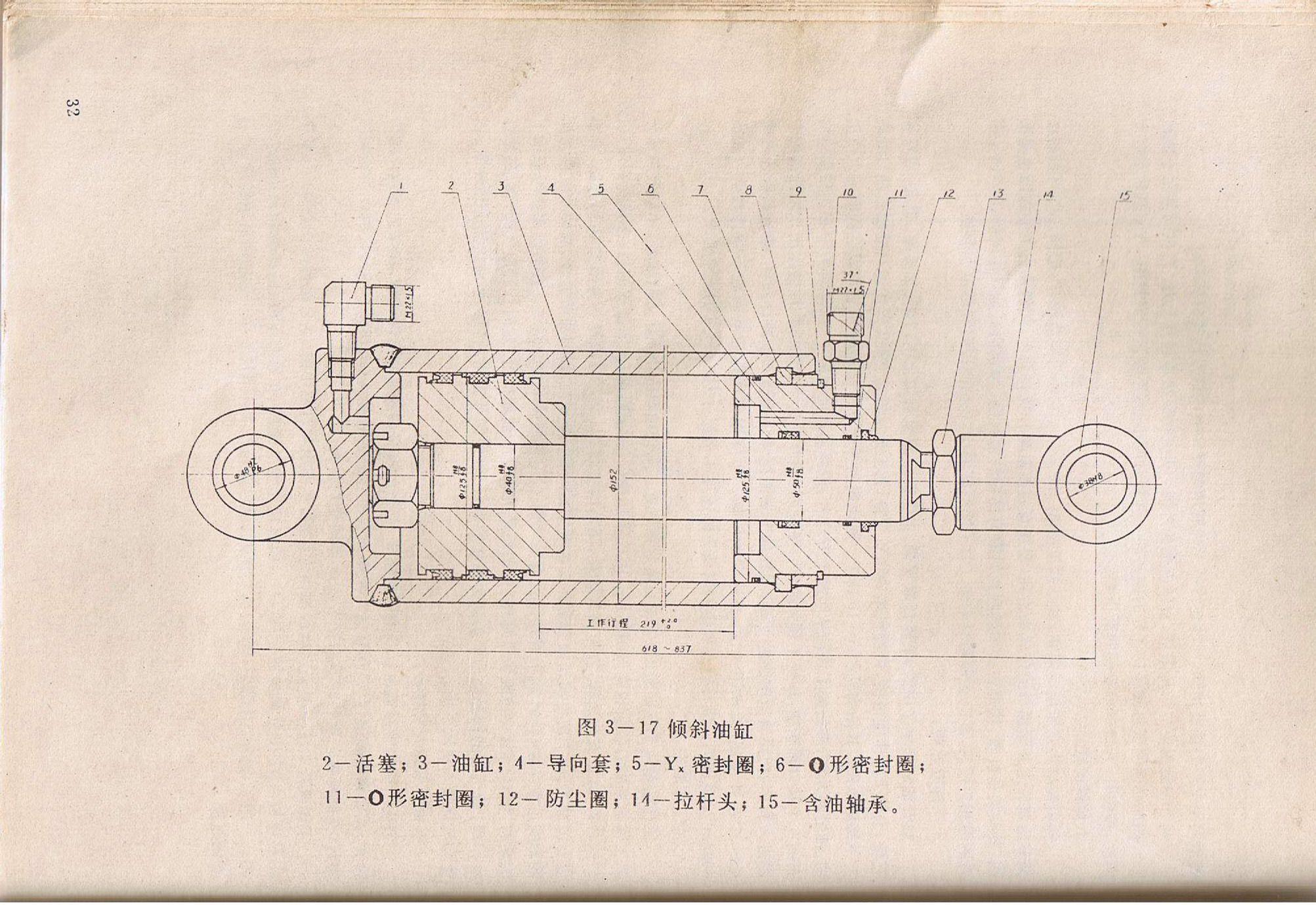 谁有没有内燃叉车倾斜液压缸的完整设计图片