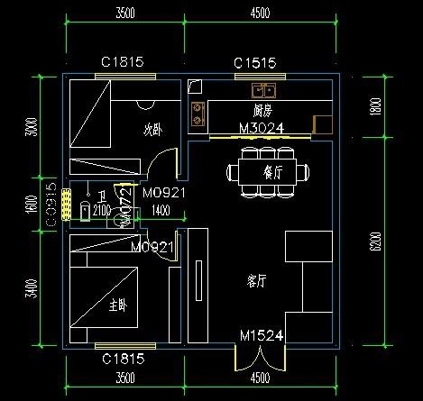 求农村房屋格局平面设计图,宽8.5米,长12米,最好有设计图纸.图片