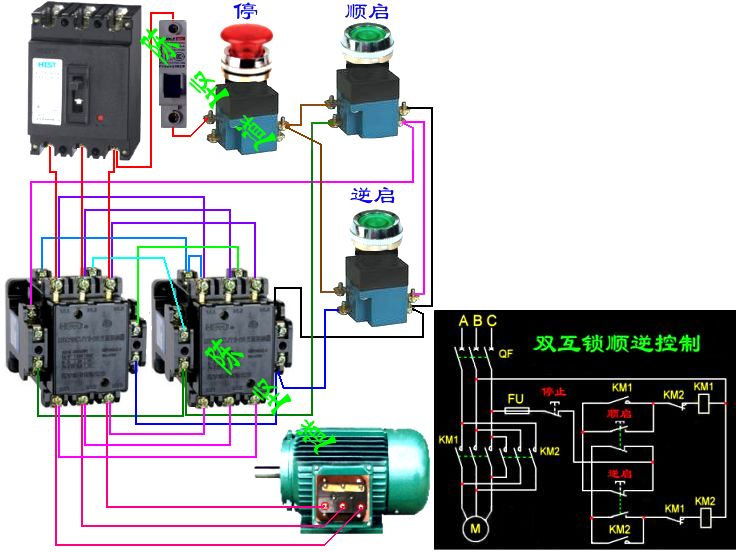 三相交流接触器与倒顺停的点动开关如何接线图片