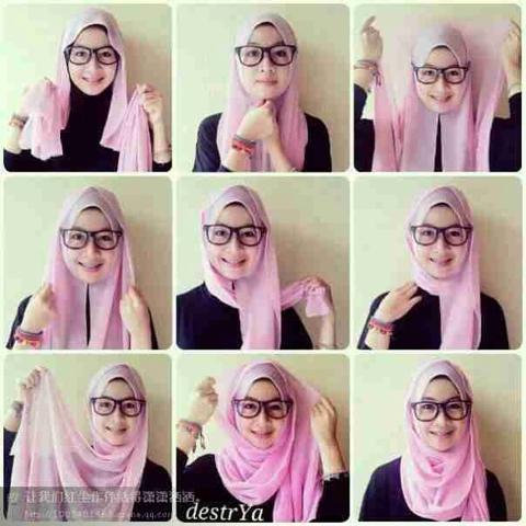 穆斯林纱巾的戴法 穆斯林纱巾戴法视频 纱巾的系法 穆斯林时尚纱巾的图片