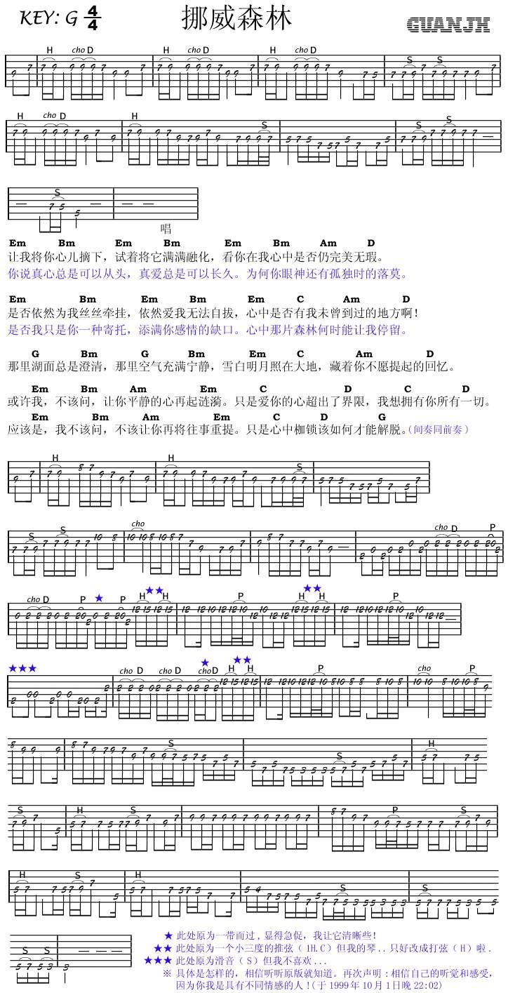 挪威的森林 吉他谱 前奏和尾奏!本人新手,希望详细点图片