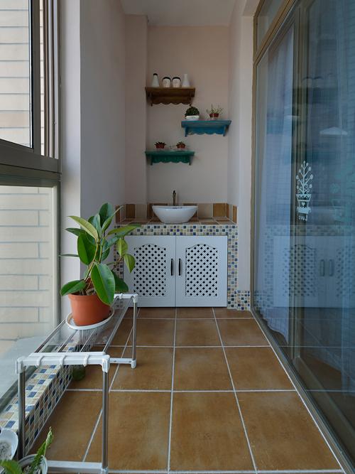 阳台可以用蓝色的仿古砖吗图片