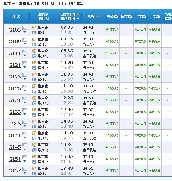 g11从北京南站到常州北站几点