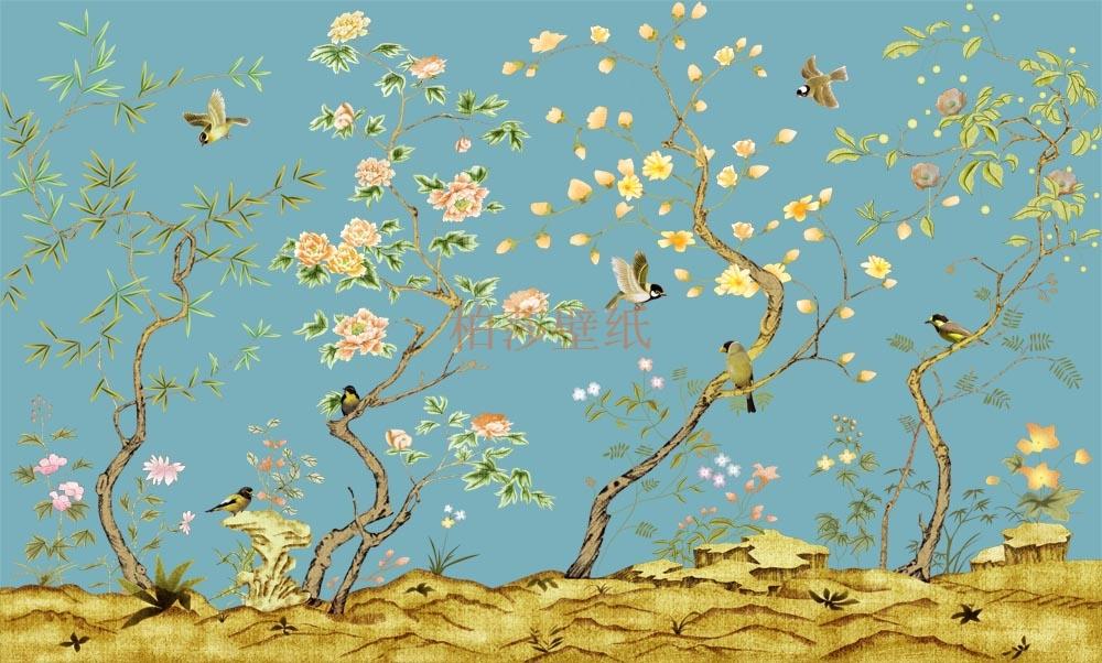 现在中式墙纸壁画