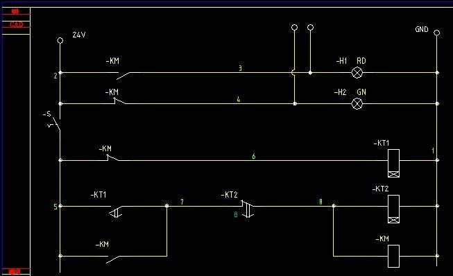 用两个220v时间继电器怎么控制24v电磁阀使气缸来回伸缩运动?图片