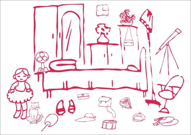 女孩的卧室简笔画图片
