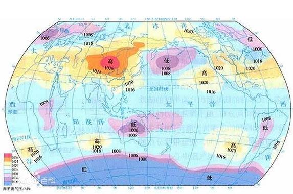 北半球冬夏季节气压中心_气压带和风带对气候的影响图片