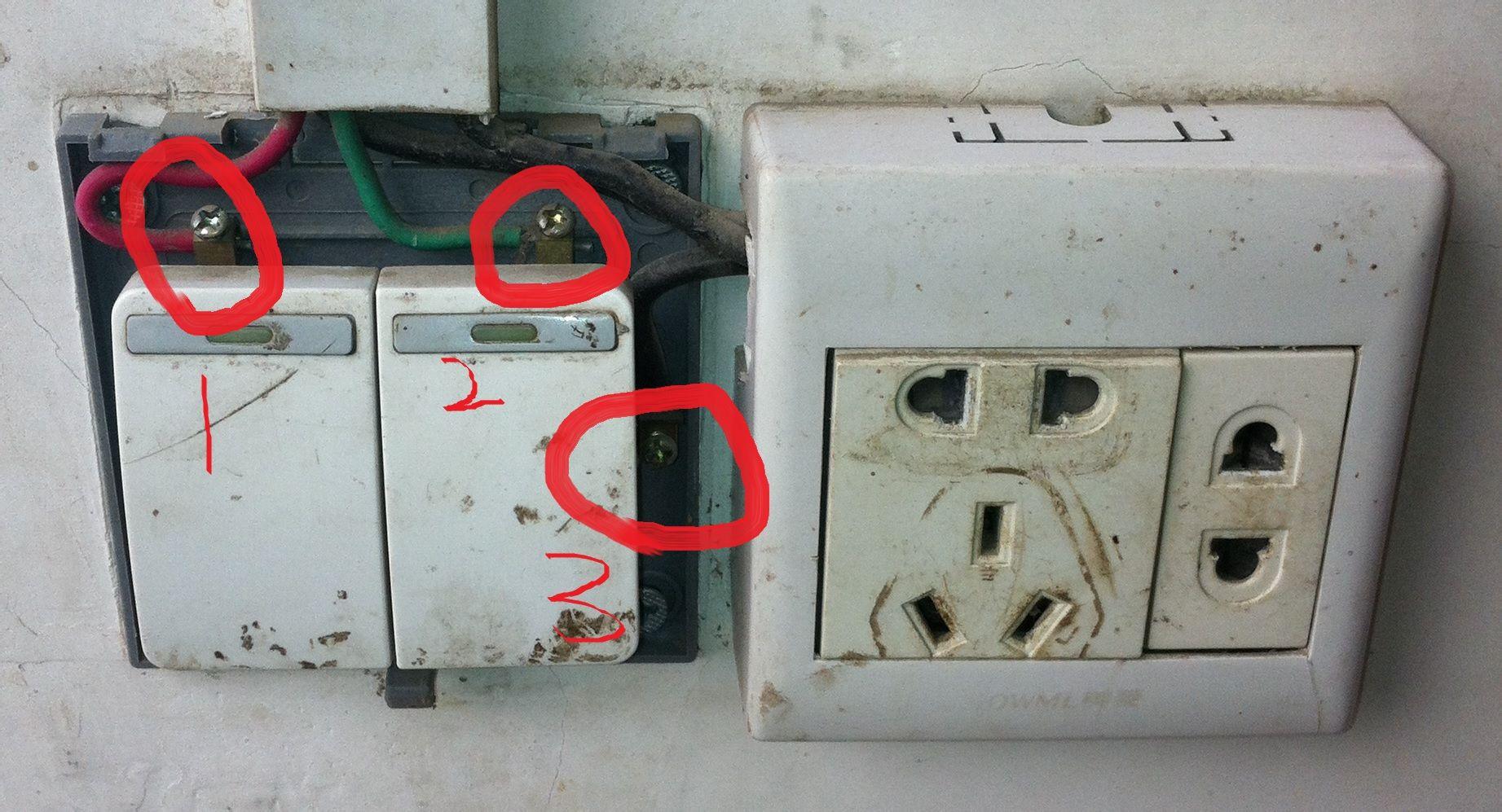 这是之前老的开关,1.2.3. 三个接线点旁边接了个插座.图片