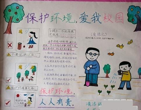 小学生保护环境.爱护校园手抄报图片