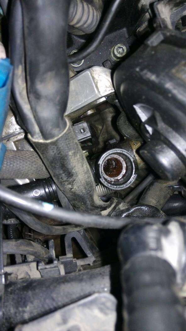 2个很长的线引到机滤后面 追问 04年奥迪a6v6发动机节气门有两根水管图片