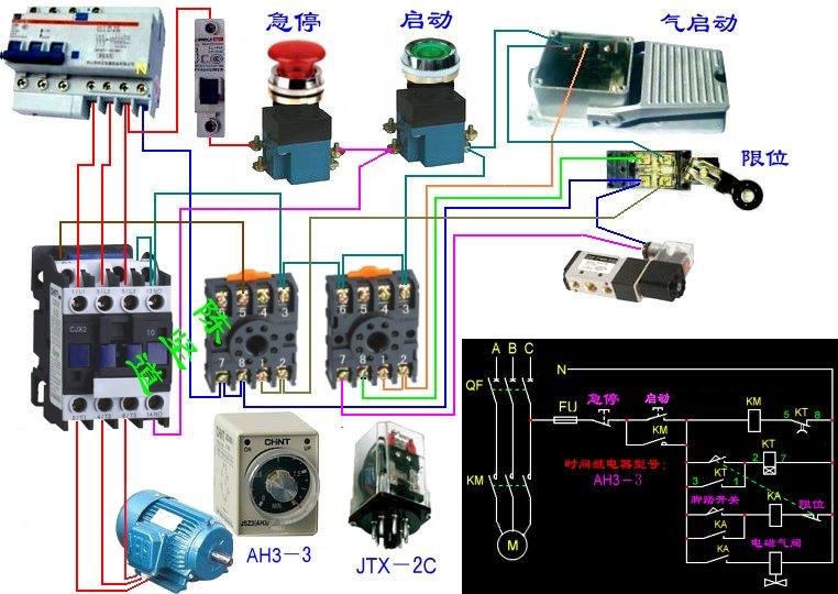 求木工单排钻控制电路图,电器原件有电磁阀,电机,启动图片