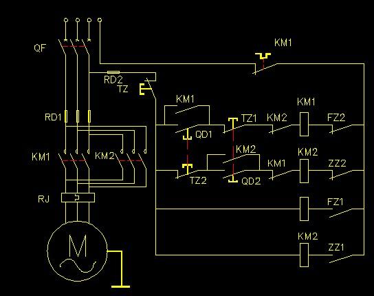 应是自锁和点动控制. 交流接触器热继电器时间继电器接线图-桌面接触图片