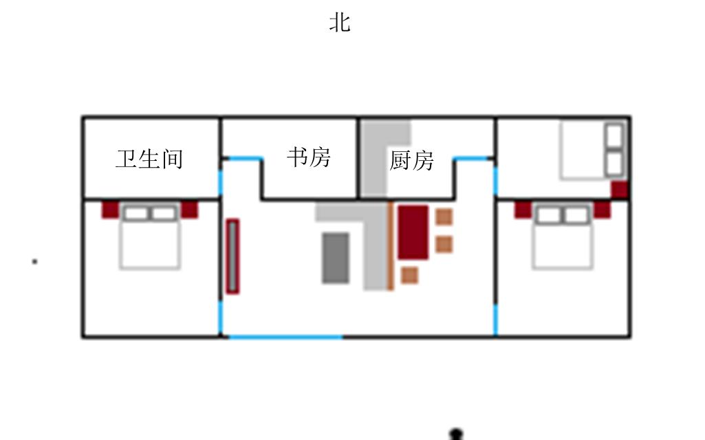 平房坐北朝南,大门向南开,卫生间在大门旁边的东南角图片