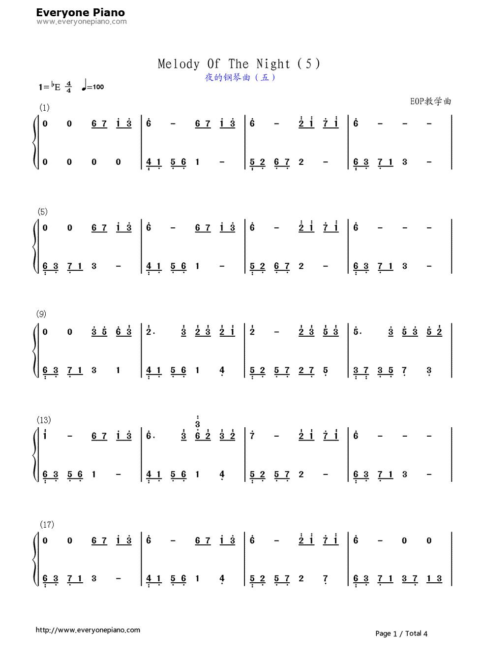 求夜的钢琴曲五.双手简谱图片
