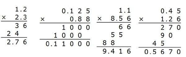 小数点的竖式计算