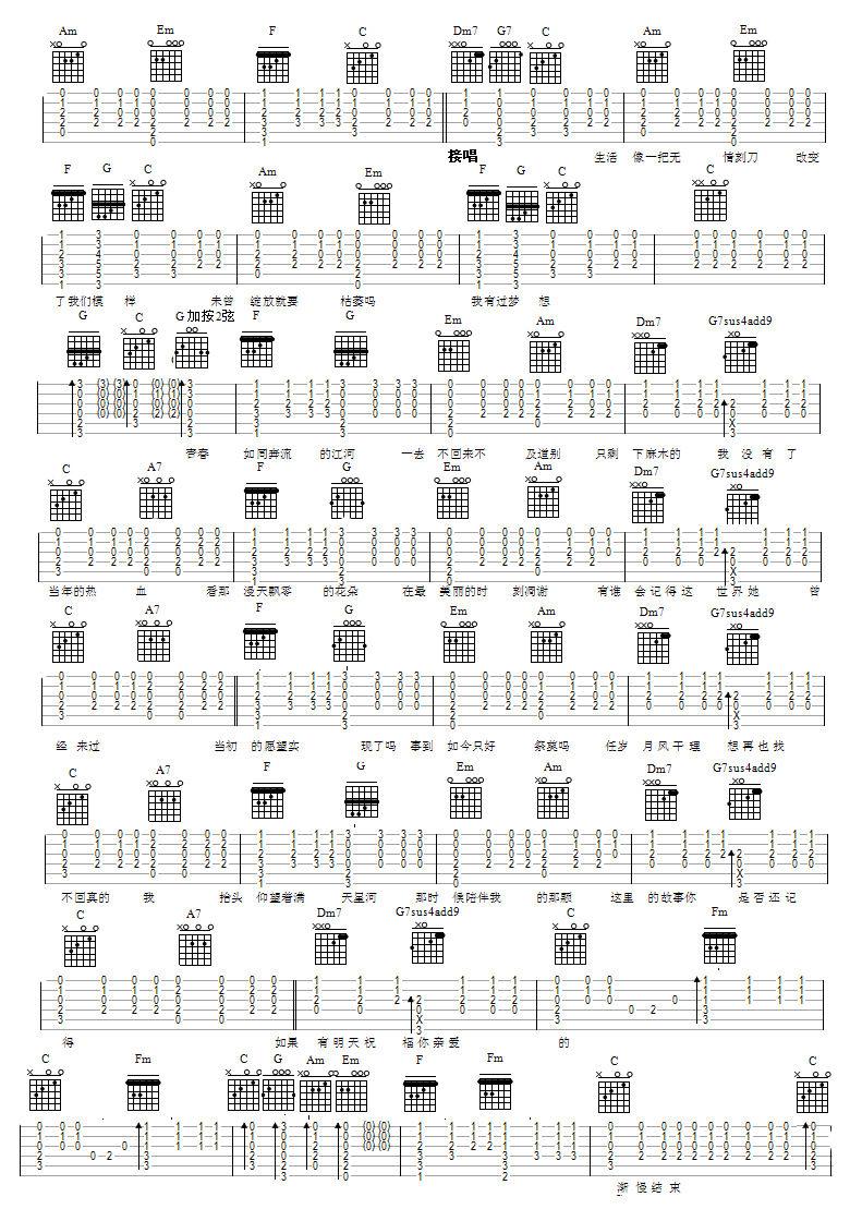 流淌在心中的河吉他谱