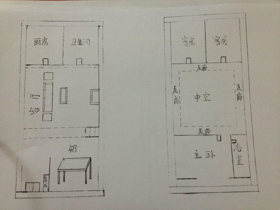 5米的地 想修个两层复式楼 自己画了个平面图 请各位大师帮忙看看图片