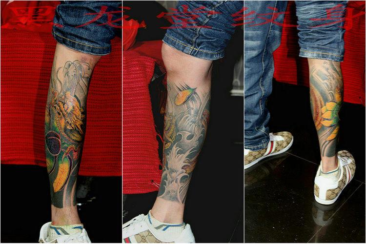 腿上缠龙纹身图片大全。_百度知道
