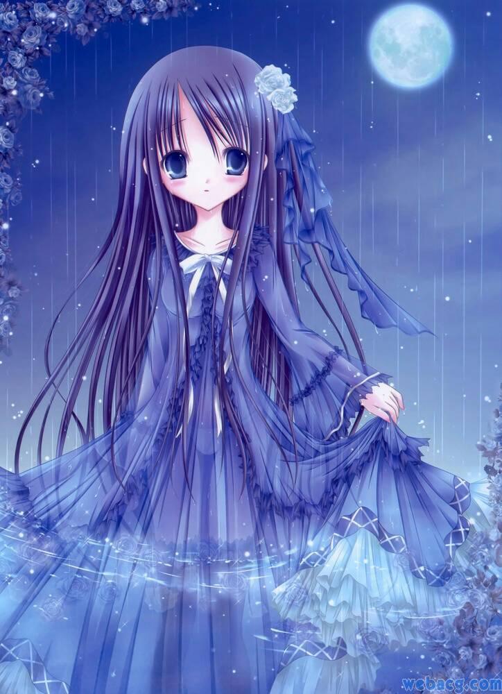 冷酷的动漫女孩 深蓝色长发