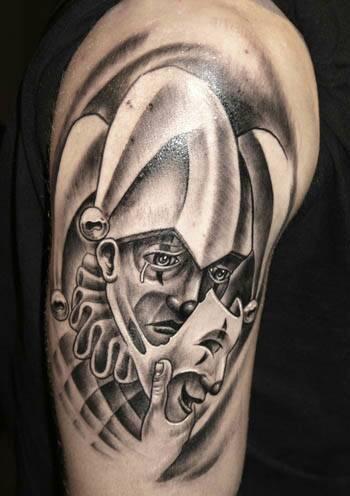 就是要这个图案而已 不要刺青的 或者给几张(面具下哭泣的小丑)图片