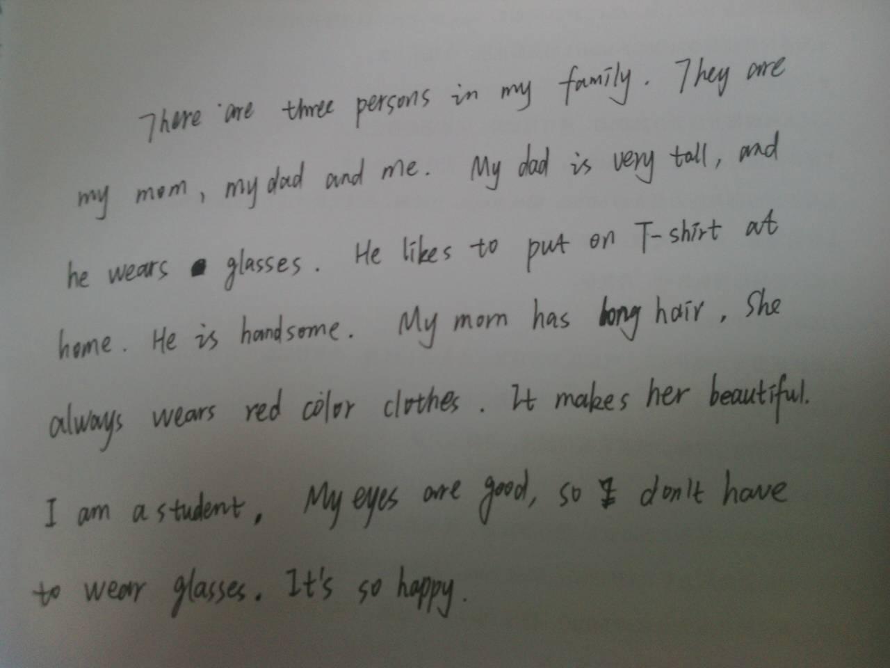 英语作文my family 着重描写外貌图片