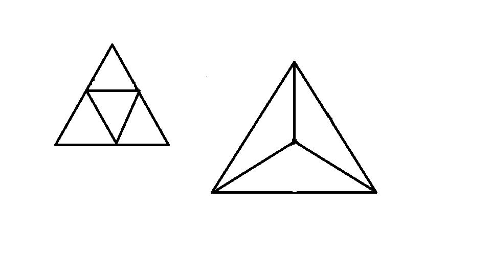 把一个大三角形切成3个同样大小的小三角形图片