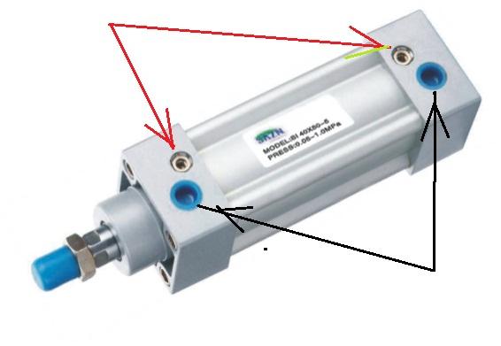 气压缸----进气方向的位置?出气的位置?红色箭头指的图片