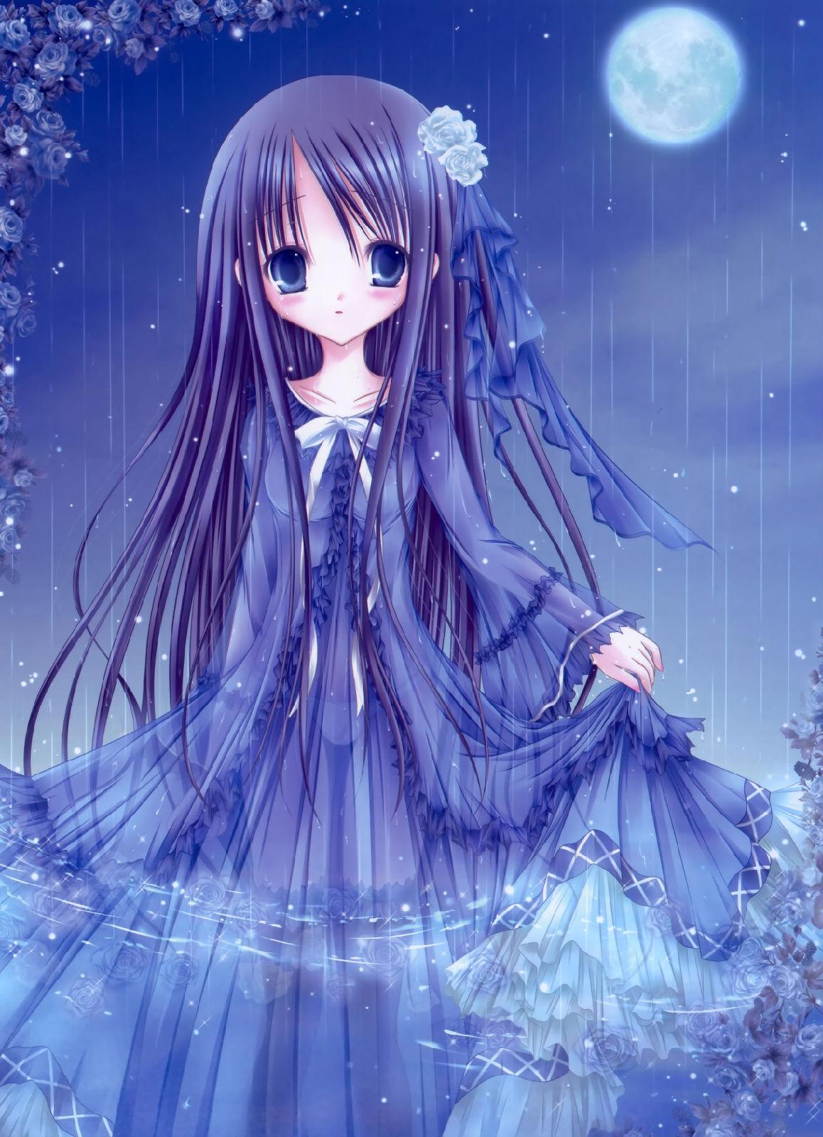 谁有海蓝色头发,冰蓝色眼睛的动漫少女图片? 百度知道
