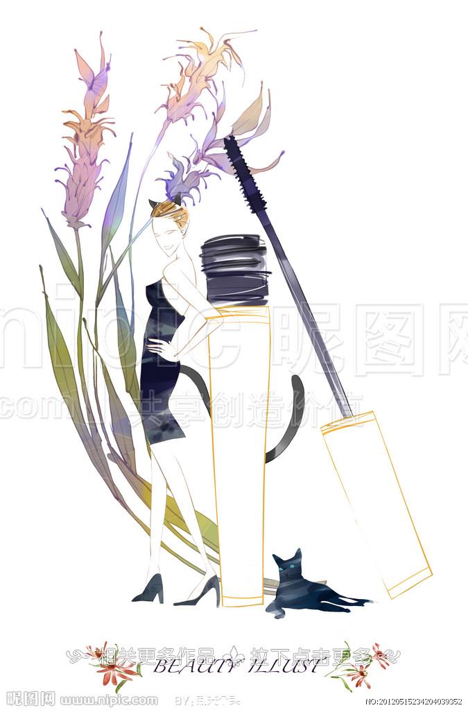 鲜花背景的猫女郎手绘分层素材 高清图片