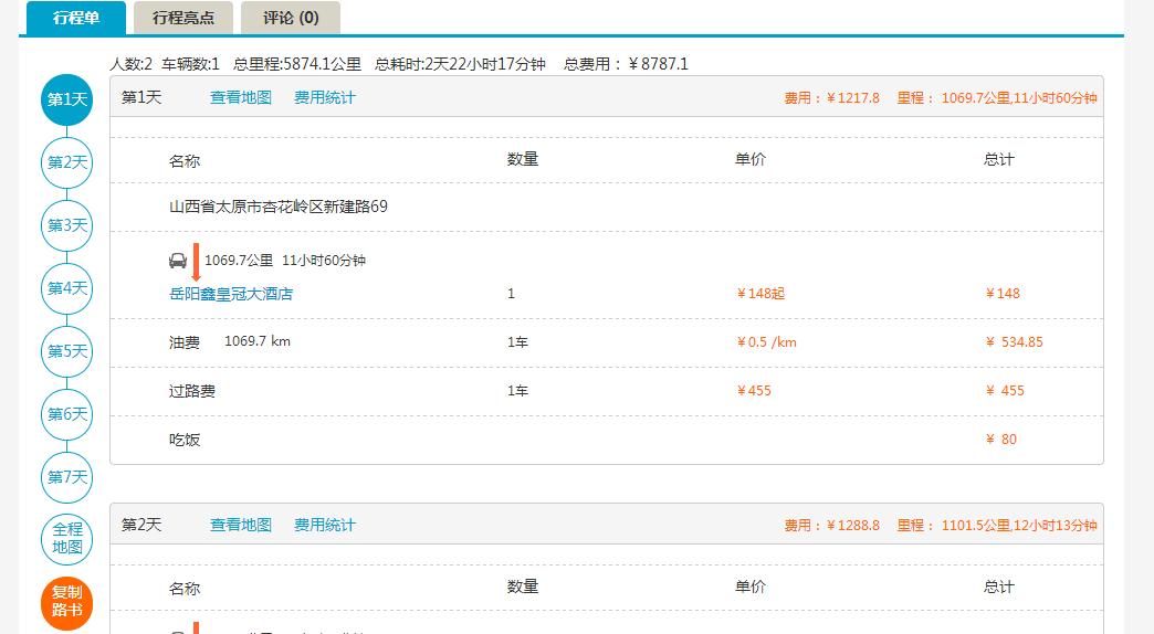 北京到三亚自驾游费用