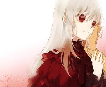 二次元图片发 白头发红眼晴的萌妹子