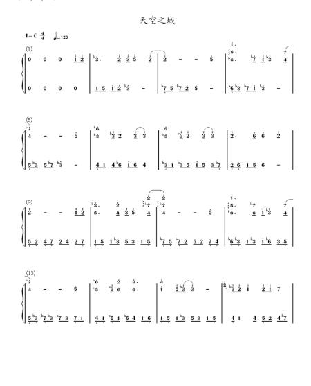 天空之城钢琴谱简谱完整版图片