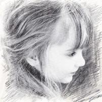 想找素描的一个小女孩的头像