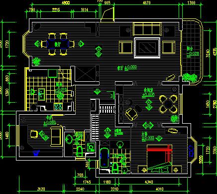 急需!二室两厅 100平米三室两厅cad设计图图片