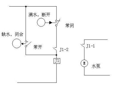 液位继电器控制电磁阀自动补水接线图图片